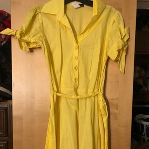 Yellow button dress